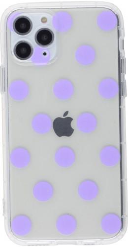 Coque iPhone 12 mini - Gel pois violet
