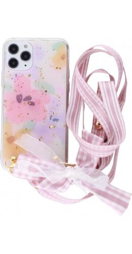 Coque iPhone 11 Pro - Gold Flakes Flowers avec lacet