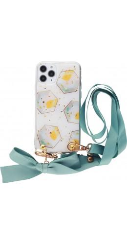 Coque iPhone 11 Pro - Gold Flakes Geometric Lacet jaune