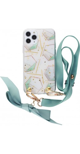 Coque iPhone 11 Pro - Gold Flakes Geometric Lacet vert