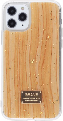 Coque iPhone 11 Pro - Gold Flakes Brave bois clair