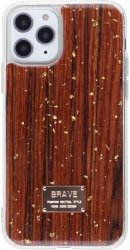 Coque iPhone 11 Pro - Gold Flakes Brave bois foncé