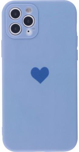 Coque iPhone 11 Pro Max - Silicone Mat Coeur lavande