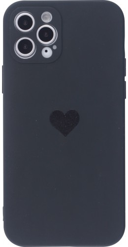 Coque iPhone 12 Pro Max - Silicone Mat Coeur noir