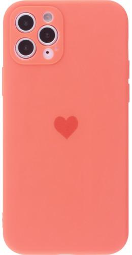 Coque iPhone 11 Pro Max - Silicone Mat Coeur orange