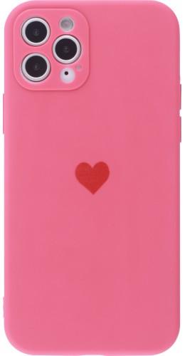 Coque iPhone 11 Pro Max - Silicone Mat Coeur rose