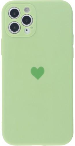 Coque iPhone 11 Pro Max - Silicone Mat Coeur vert clair