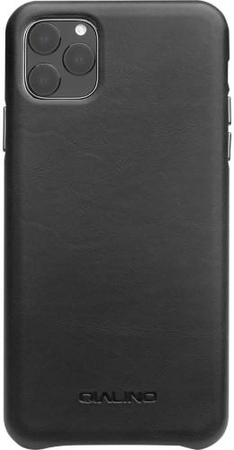 Coque iPhone 11 Pro Max - Qialino cuir véritable noir