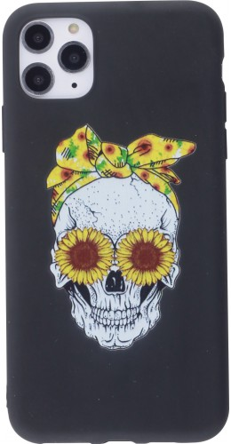 Coque iPhone 12 Pro Max - Silicone Mat Skull flowers noir