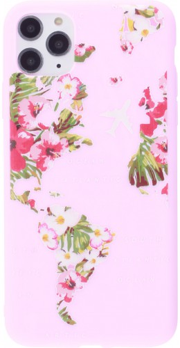 Coque iPhone 11 Pro Max - Silicone Mat Travel flowers