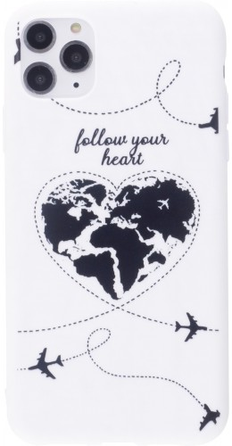 Coque iPhone 12 Pro Max - Silicone Mat Travel heart