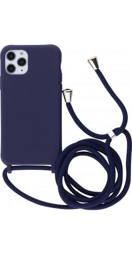 Coque iPhone 11 Pro - Silicone Mat avec lacet bleu