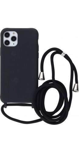 Coque iPhone 11 Pro - Silicone Mat avec lacet noir