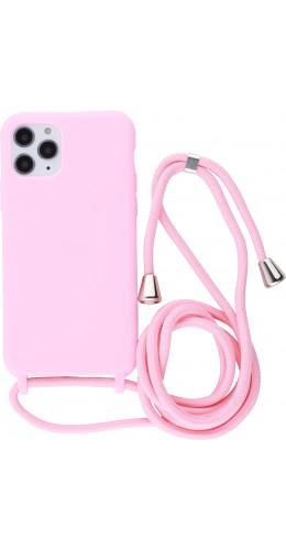 Coque iPhone 11 Pro - Silicone Mat avec lacet rose clair