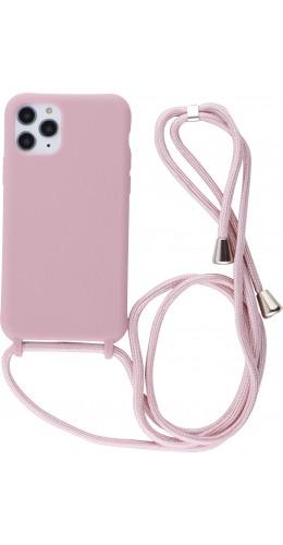 Coque iPhone 11 Pro - Silicone Mat avec lacet rose pâle