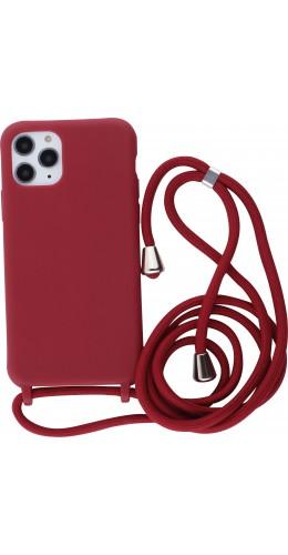 Coque iPhone 11 Pro - Silicone Mat avec lacet rouge