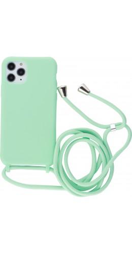 Coque iPhone 11 Pro - Silicone Mat avec lacet vert clair