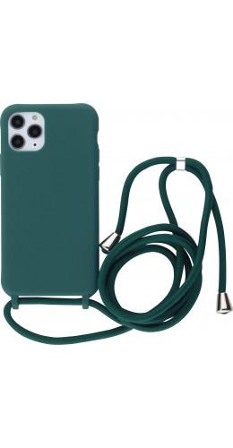 Coque iPhone 11 Pro - Silicone Mat avec lacet vert foncé