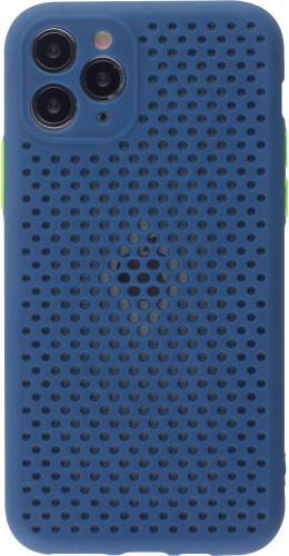 Coque iPhone 11 Pro - Silicone Mat avec trous bleu