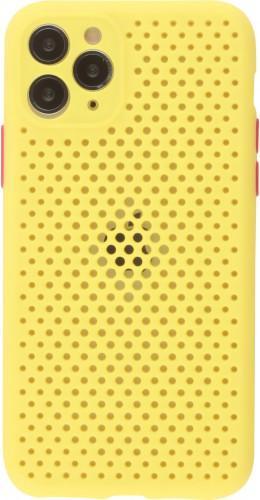 Coque iPhone 11 Pro - Silicone Mat avec trous jaune
