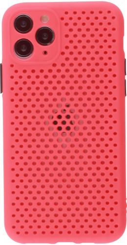 Coque iPhone 11 Pro - Silicone Mat avec trous rouge
