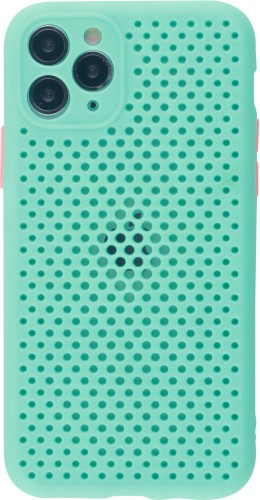 Coque iPhone 11 Pro - Silicone Mat avec trous turquoise