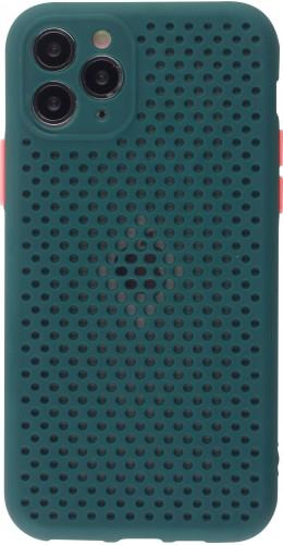Coque iPhone 11 Pro - Silicone Mat avec trous vert foncé