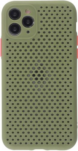 Coque iPhone 11 Pro - Silicone Mat avec trous vert kaki