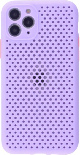 Coque iPhone 11 Pro - Silicone Mat avec trous violet