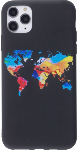 Coque iPhone 12 Pro Max - Silicone Mat colorful map