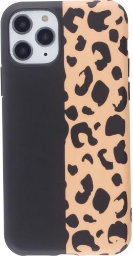 Coque iPhone 11 Pro - Silicone Mat demi noir léopard
