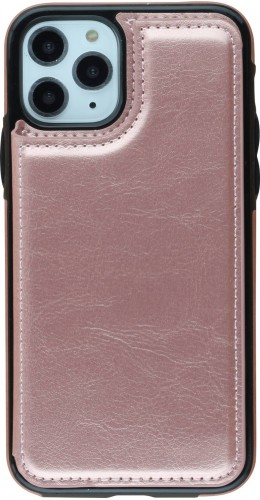 Coque iPhone 11 Pro - Wallet Premium Cards or rose