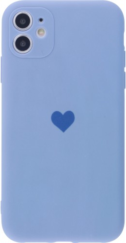 Coque iPhone 11 - Silicone Mat Coeur lavande