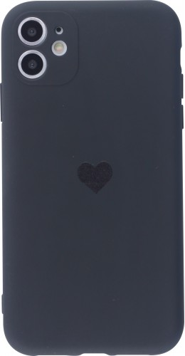 Coque iPhone 11 - Silicone Mat Coeur noir