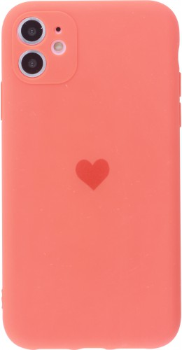 Coque iPhone 11 - Silicone Mat Coeur orange