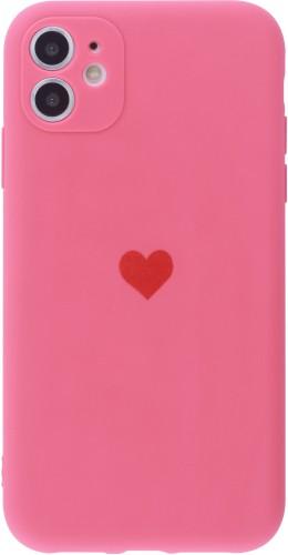 Coque iPhone 11 - Silicone Mat Coeur rose