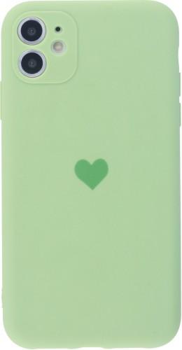Coque iPhone 11 - Silicone Mat Coeur vert clair