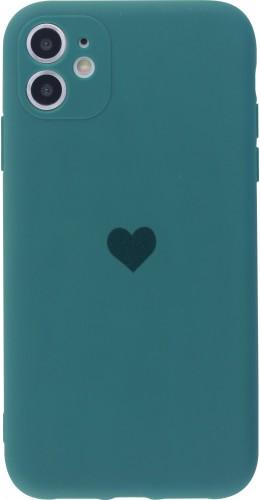 Coque iPhone 11 - Silicone Mat Coeur vert foncé