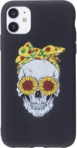 Coque iPhone 12 mini - Silicone Mat Skull flowers noir