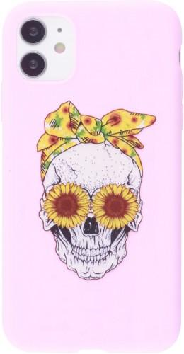 Coque iPhone 12 mini - Silicone Mat Skull flowers rose