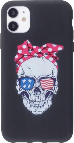 Coque iPhone 12 mini - Silicone Mat Skull USA noir