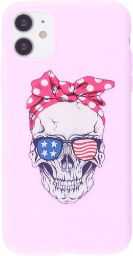 Coque iPhone 12 mini - Silicone Mat Skull USA rose