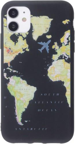 Coque iPhone 12 / 12 Pro - Silicone Mat Travel noir