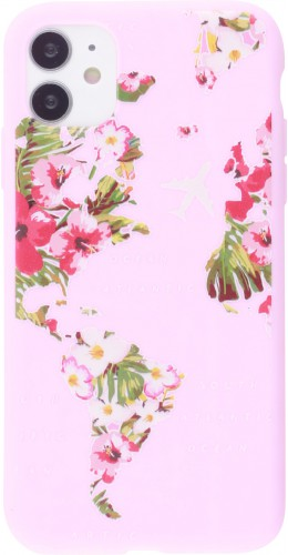 Coque iPhone 12 mini - Silicone Mat Travel flowers