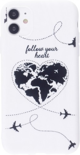 Coque iPhone 12 mini - Silicone Mat Travel heart