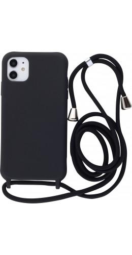 Coque iPhone 11 - Silicone Mat avec lacet noir