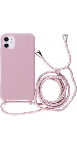 Coque iPhone 11 - Silicone Mat avec lacet rose pâle