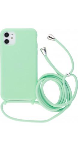 Coque iPhone 11 - Silicone Mat avec lacet vert clair