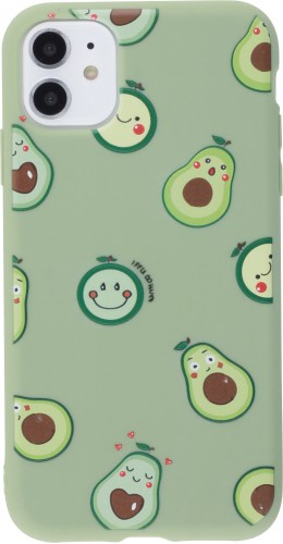 Coque iPhone 12 mini - Silicone Mat avocat pattern