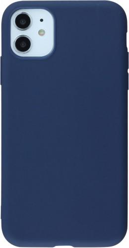 Coque iPhone 11 - Silicone Mat bleu foncé